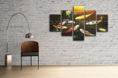 Large Koi Fish Painting Feng Shui Contemporary Print Canvas Wall Art Dining Room