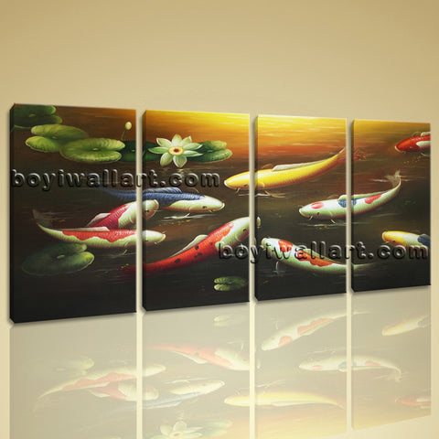 Large Feng Shui Contemporary On Canvas Print Wall Art Bedroom Four Pieces Prints