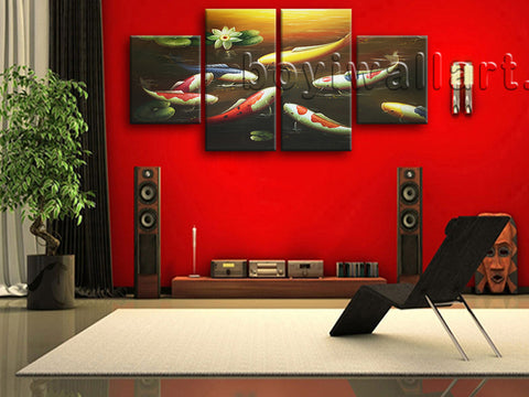 Large Feng Shui Painting Koi Fish Wall Art Canvas Dining Room 4 Pieces print