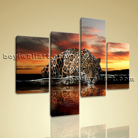Large Jaguar Jungle Forest Print Art Living Room Tetraptych Pieces Canvas