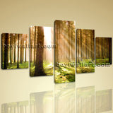 Large Beautiful Forest Landscape Print On Canvas Wall Art Dining Room 5 Pieces