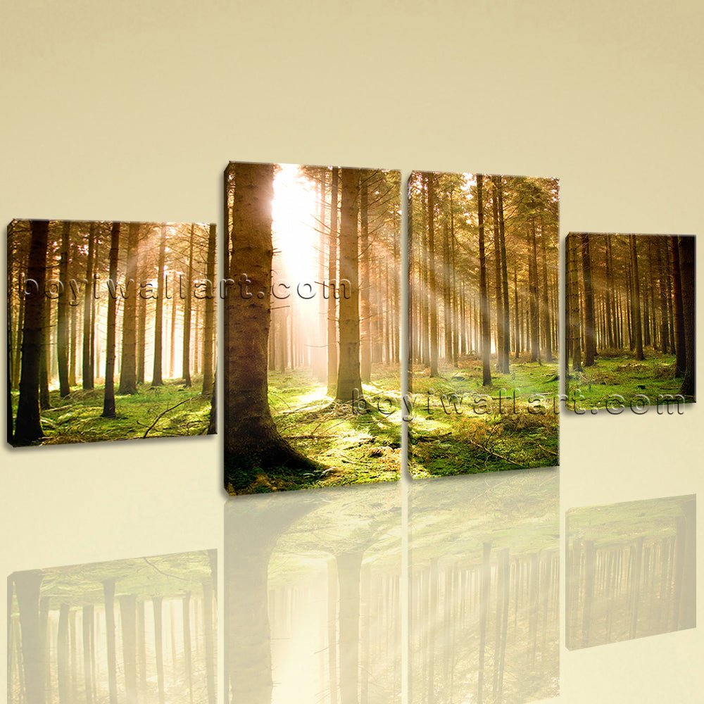 Large Beautiful Forest Wall Art Painting Dining Room Tetraptych Panels Print