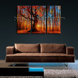 Large Autumn Forest Sunrise Landscape Wall Art Giclee Printed On Canvas BedRoom