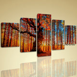 Large Autumn Forest Sunrise Landscape On Canvas Print Wall Art Dining Room
