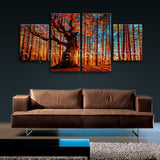 Large Forest Trees Canvas Art Painting On Dining Room Four Panels Giclee print