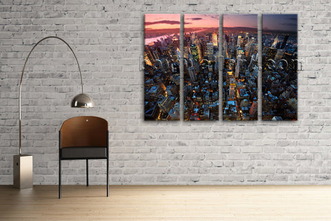 Large New York Skyline Cityscape Wall Art HD Giclee Print On Canvas Living Room
