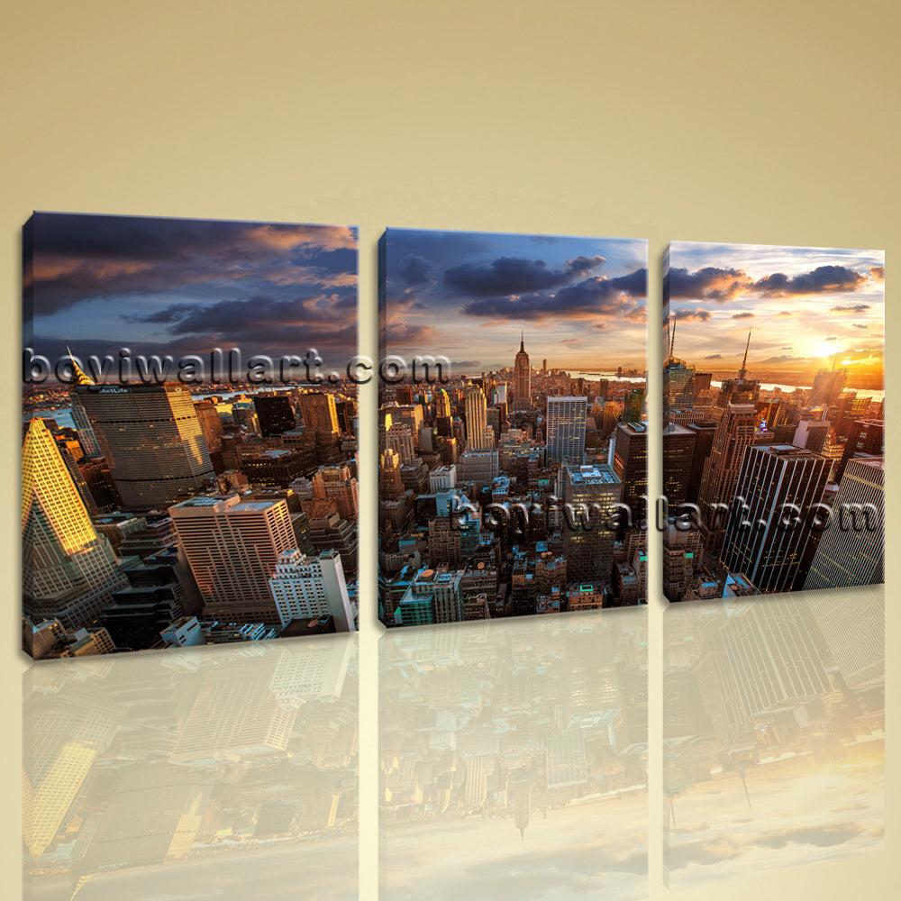 Large Empire State Building Cityscape Photography On Canvas Art Print Home Decor