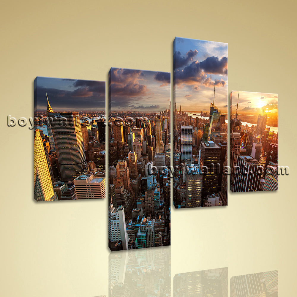 Large Empire State Building New York Canvas Art On Living Room Four Pieces Print
