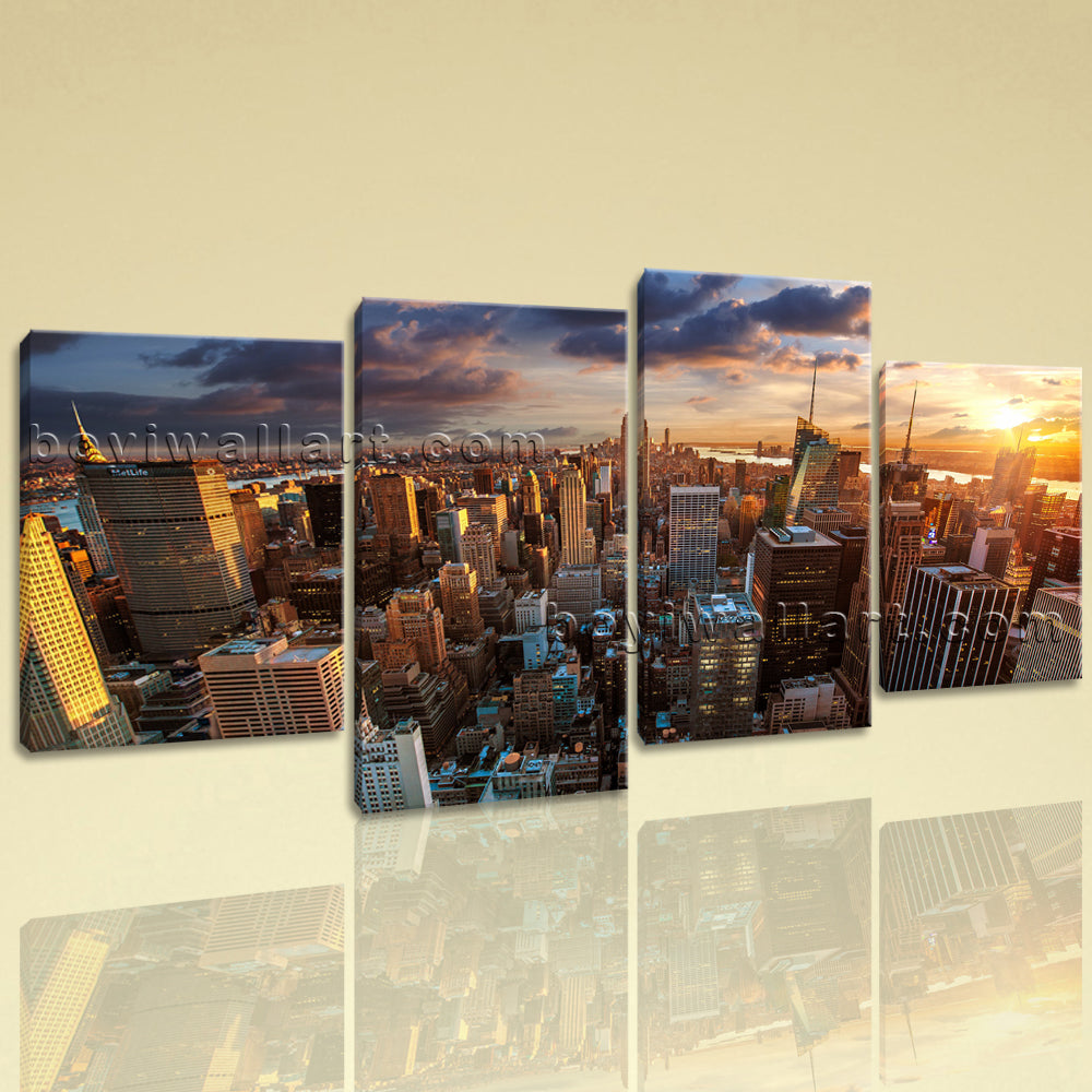 Large Empire State Building Cityscape On Canvas Print Wall Art Living Room