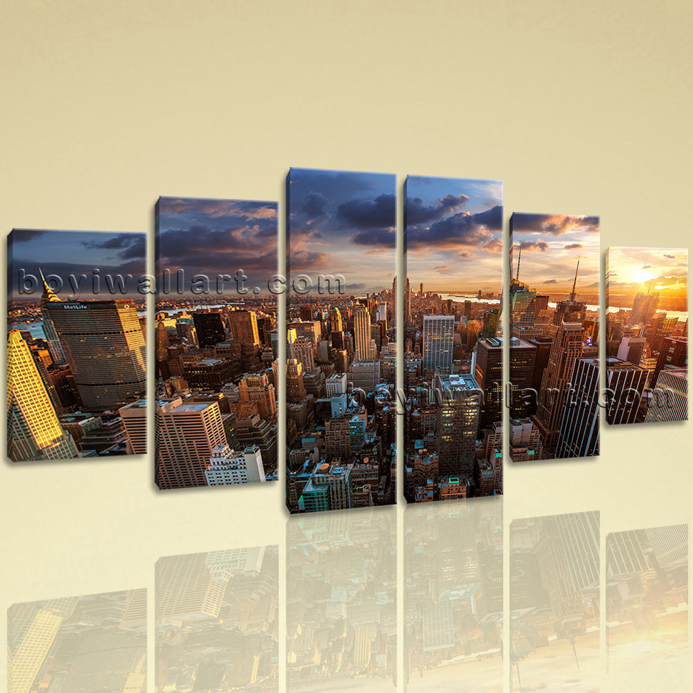 Large Empire State Building New York On Canvas Hexaptych Pieces Print