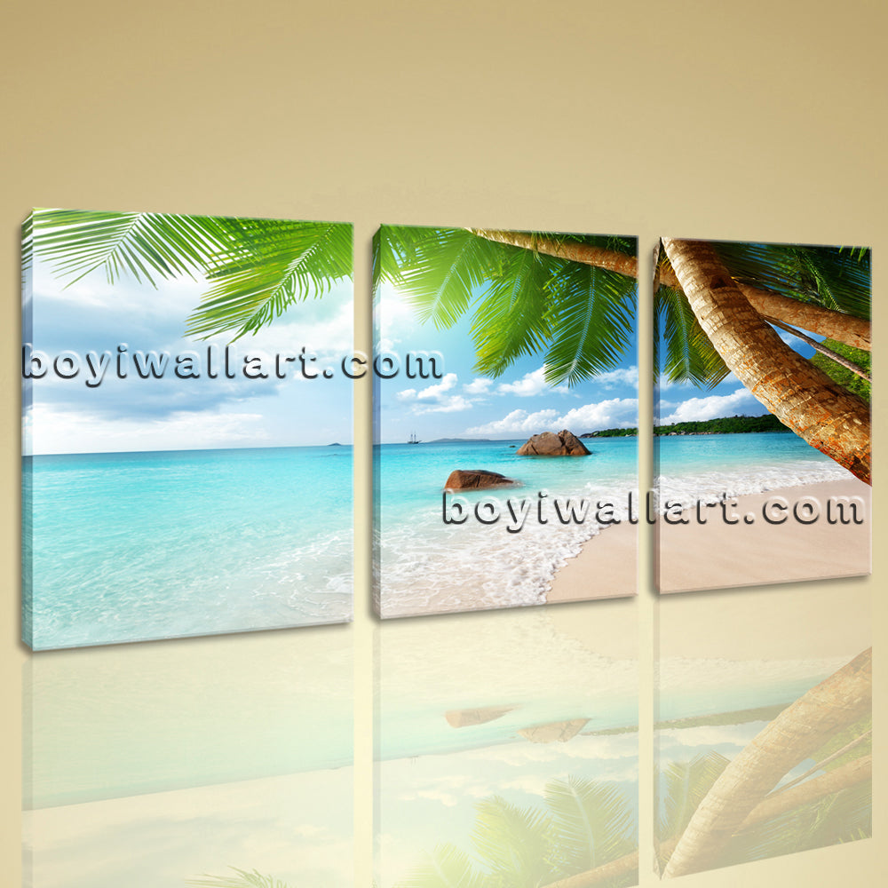 Large Tropic Sunset Palm Trees Landscape On Canvas Print Artwork Living Room