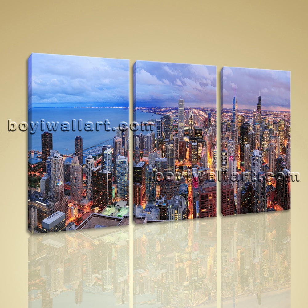 Large Chicago City Cityscape Photography Wall Art Printed On Canvas BedRoom