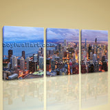 Large Chicago City Panorama Cityscape Photography Wall Art Print On Canvas Decor