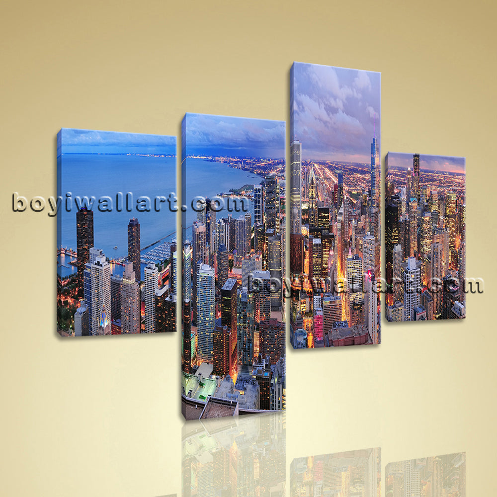 Large Chicago Skyline Painting Art Living Room Tetraptych Panels Giclee Print