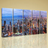 Large Chicago Skyline Cityscape On Canvas Art Print Home Decor Dining Room