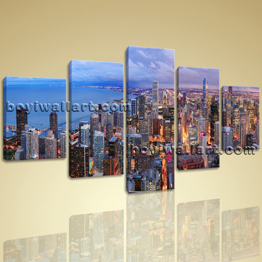Large Chicago City Panorama Cityscape On Canvas Wall Art Print Dining Room