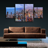 Large Chicago City Painting Photography Canvas Art Dining Room Four Panels Print