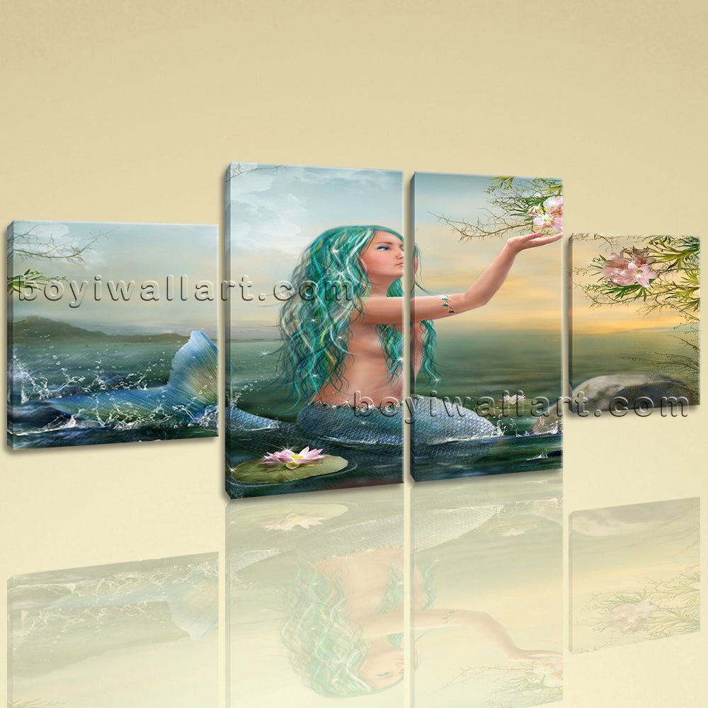Large Fantasy Mermaids Mermaid Canvas Art Expressionism On Four Pieces Print