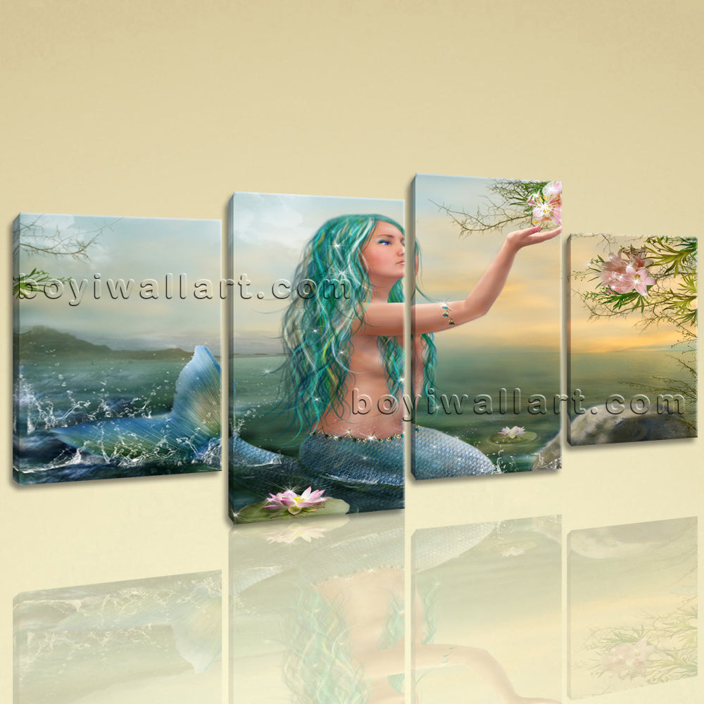 Large Fantasy Mermaids Figure Expressionism Print On Canvas Wall Art Living Room