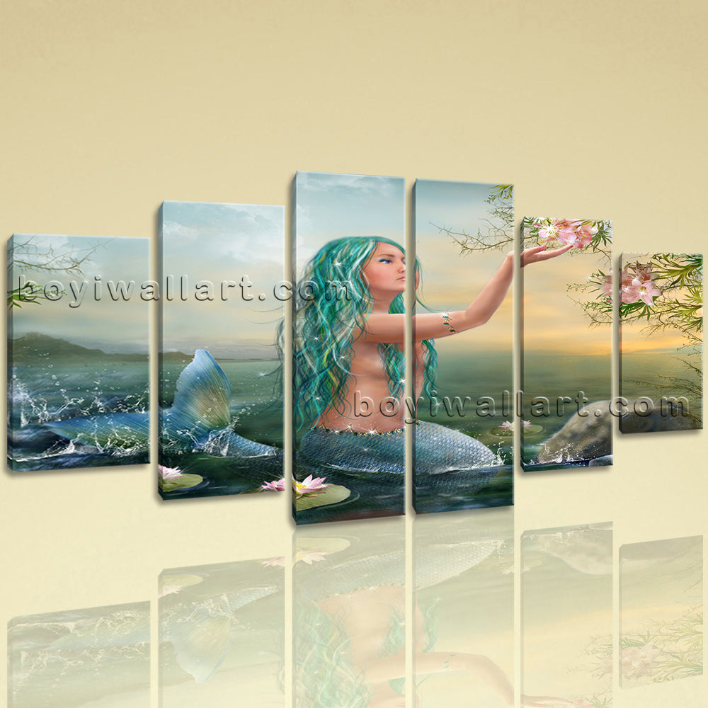 Large Fantasy Mermaids Mermaid Wall Art Expressionism Dining Room 6 Panels Print