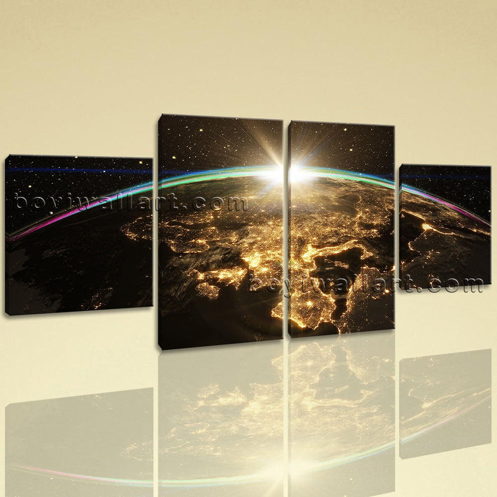 Large Epic Sunrise Over World Skyline Space Wall Art Four Panels Print