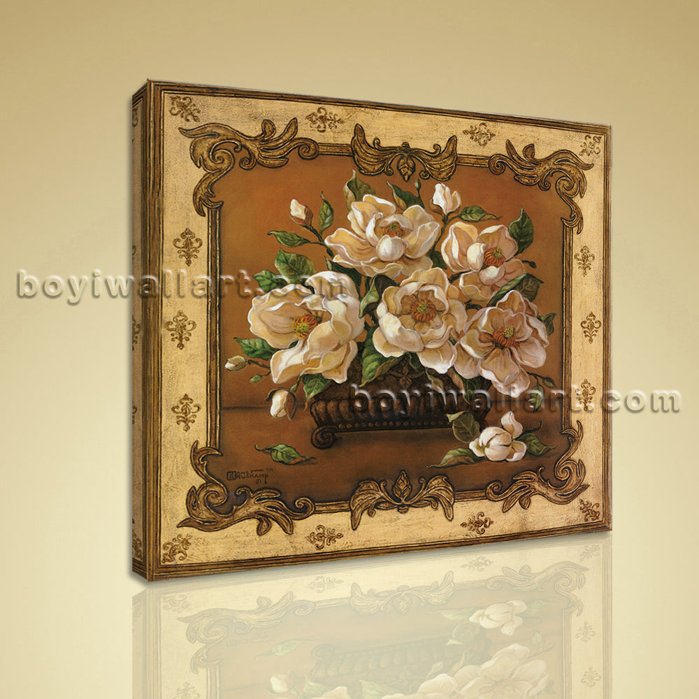 Classical Oil Painting HD Print Canvas Wall Art Retro Abstract Gardenia Flower