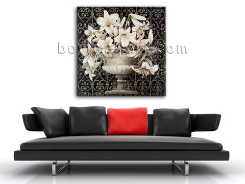 Contemporary Abstract Painting Giclee Print HD Picture Retro Flower For Bathroom