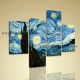 Large Famous Print Abstract Impressionist Painting Living Room Tetraptych Panels