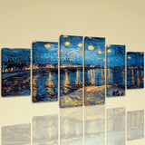 Large Famous Canvas Art Abstract Wall Impressionist Hexaptych Pieces Print
