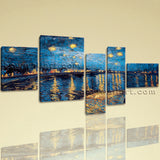 Large Famous Abstract Wall Impressionist Art Bedroom 5 Panels Canvas Print
