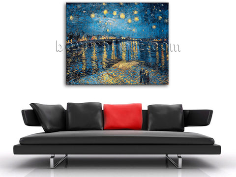 Starry Night Over The Rhone By Vincent Van Gogh Giclee Print Repro On Canvas