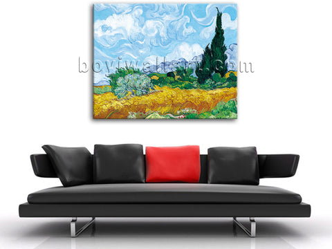 Van Gogh A Wheatfield With Cypresses Giclee HD Print Wall Art On Canvas