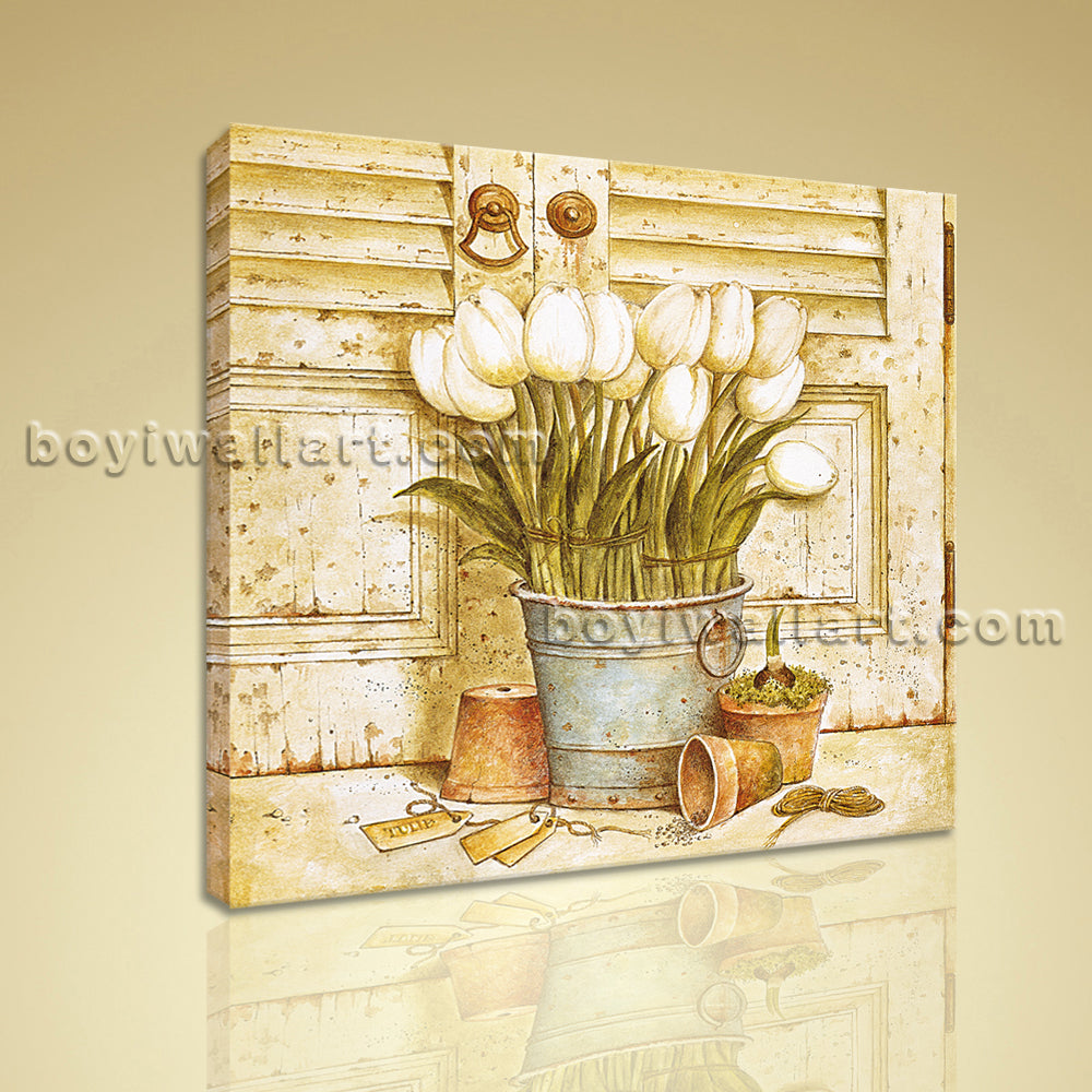 Classical Oil Painting HD Print Canvas Wall Art Retro Abstract Flower Home Decor