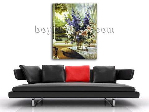 Modern Abstract Flower Painting Print On Canvas Still Life Bouquet Wall Art