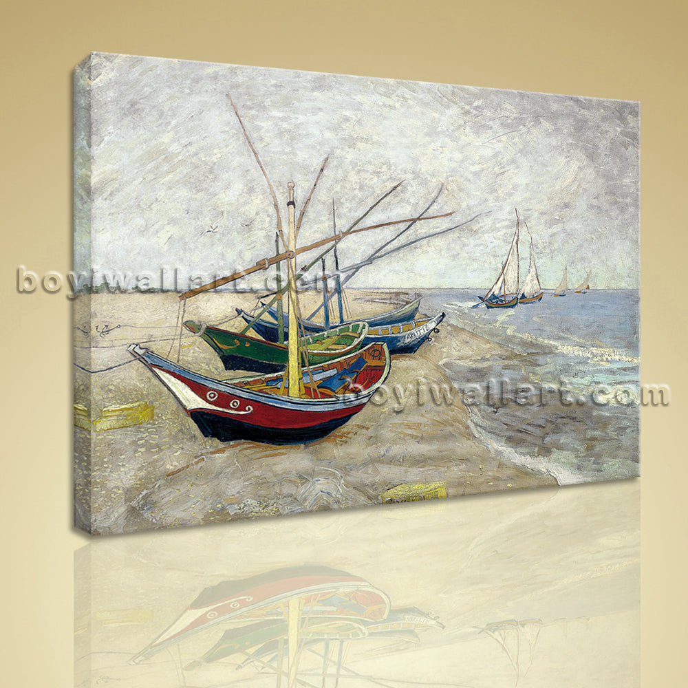 Fishing Boats On The Beach Giclee Print Canvas Wall Art Home Decoration Idea
