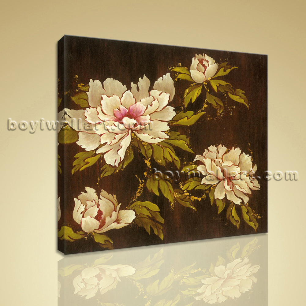 Contemporary Floral Painting Peony Flowers Picture HD Print Ready To Hang