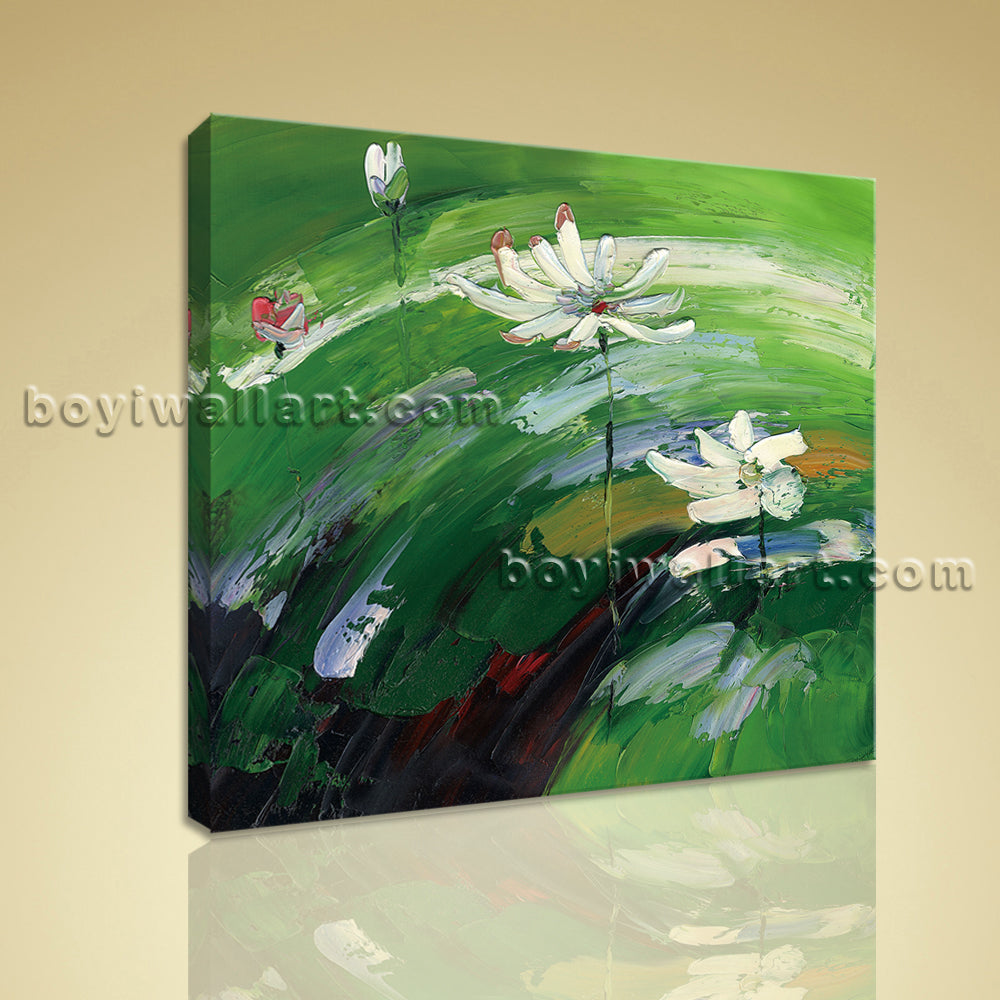 Contemporary Abstract Floral Painting Picture Print Canvas Art Water Lily Flower