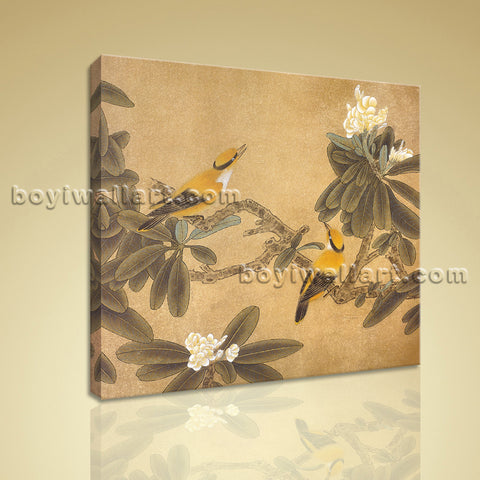 Contemporary Abstract Painting Floral Birds Picture HD Print On Canvas Wall Art