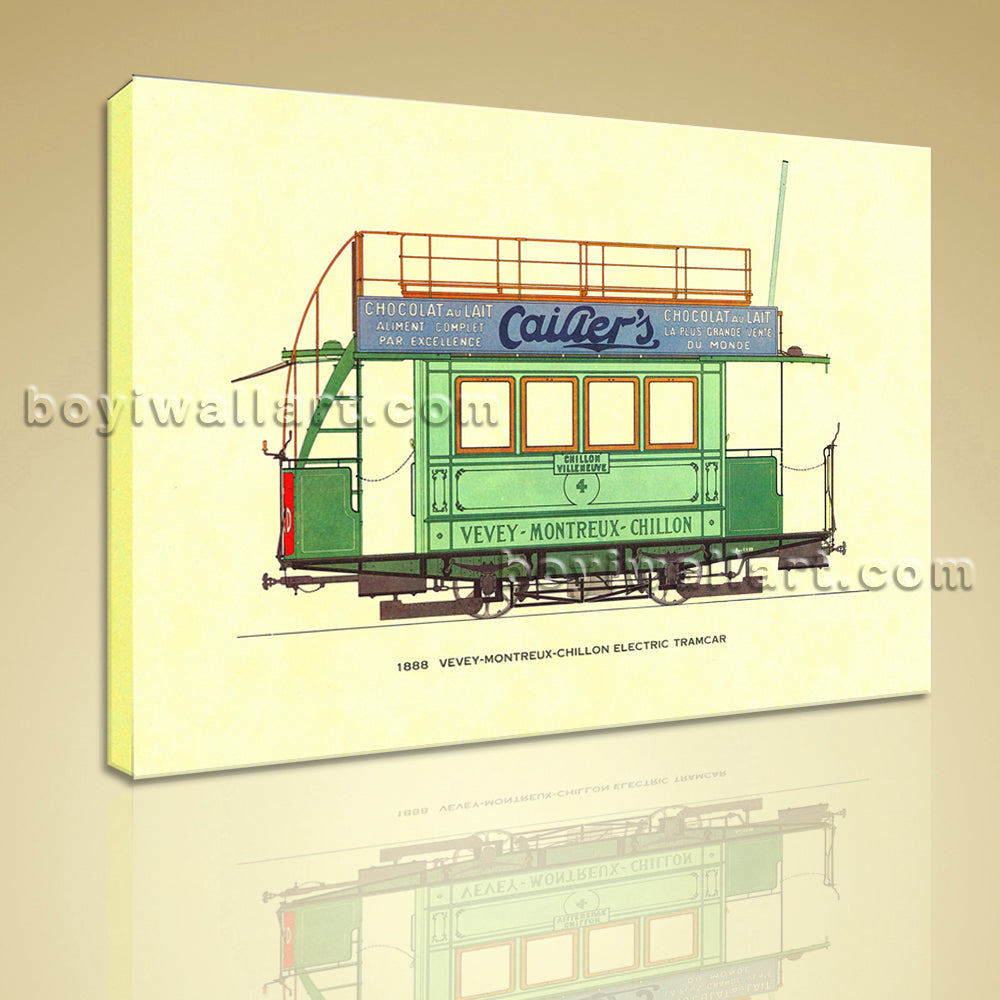 HD Print On Canvas Transportation Car Vevey-montreux-chillon Electric Tramcar