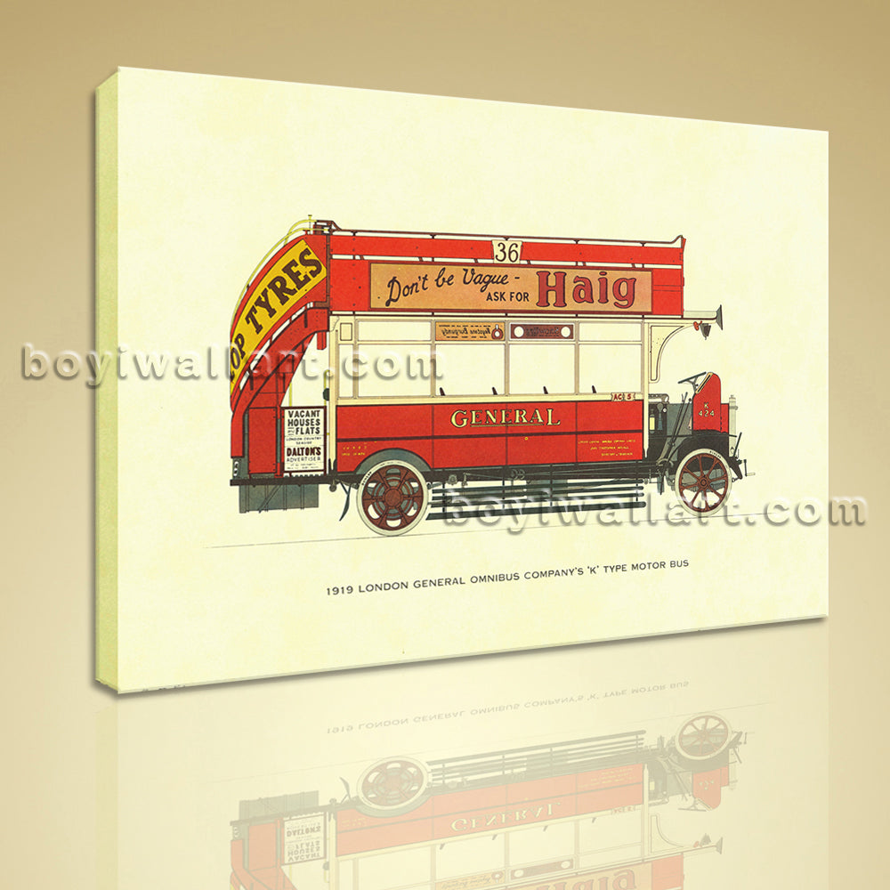 HD Print Canvas Wall Art 1919 London General Omnibus Motor Bus Stretched