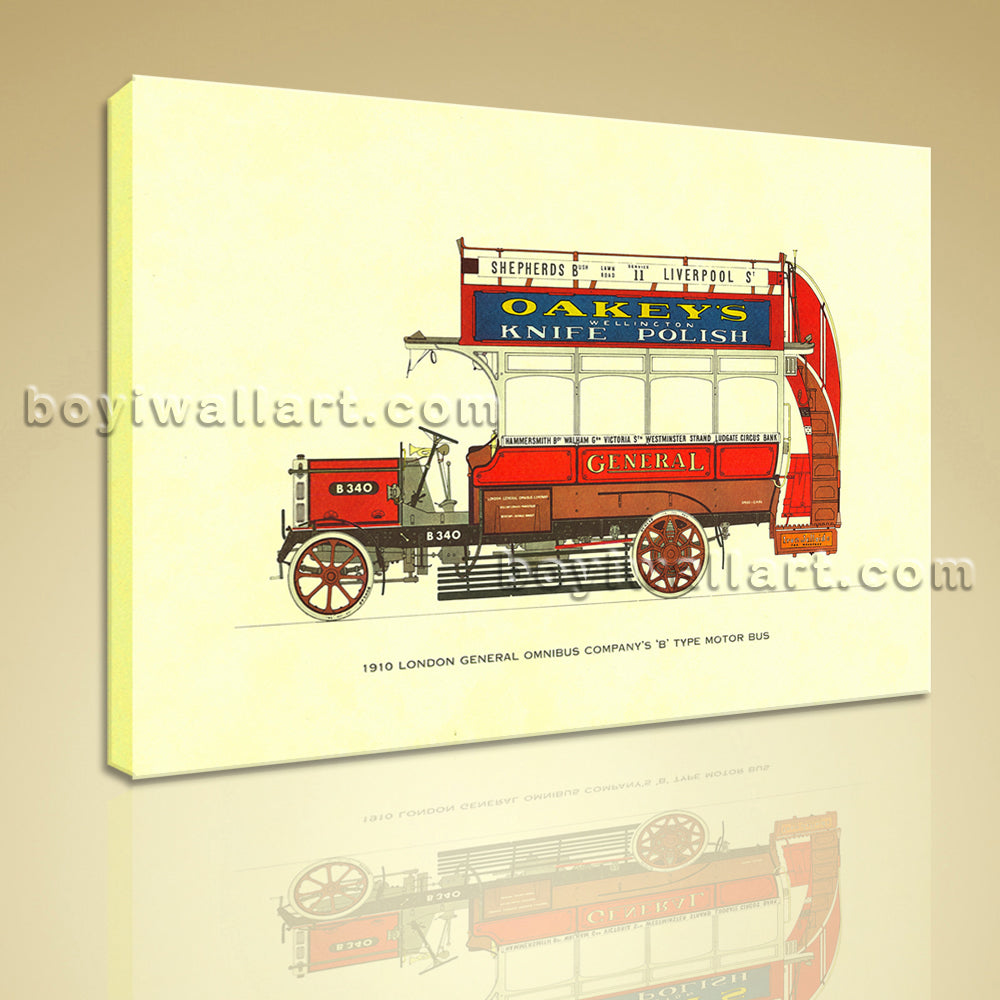 HD Print On Canvas 1910 London General Omnibus Company's 'b' Type Motor Bus