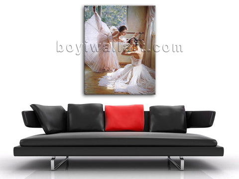 Canvas Prints Impressionist Painting Ballet Dancer White Skirt Gallery Wrapped