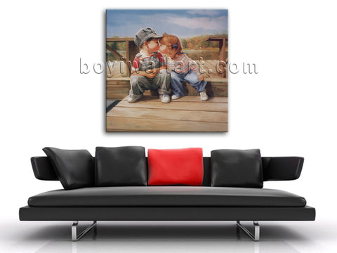 Romantic Lovely Picture Abstract Painting Boy And Girl Kiss Wall Art On Canvas