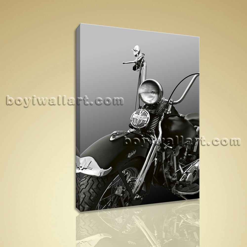 HD Print Canvas Wall Art Vintage Transportation Motorcycle Black And White Decor