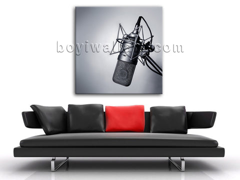 HD Print Canvas Wall Art Vintage Microphone Picture Modern Abstract Home Decor