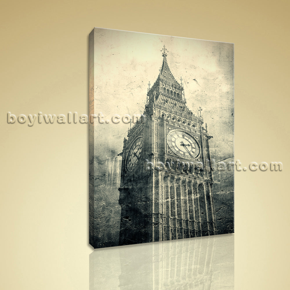 Contemporary Wall Art Picture Landmarks HD Print On Canvas The Big Ben Retro