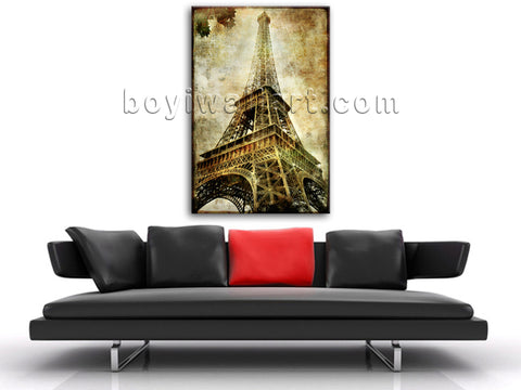 Retro Style Wall Art Picture Landmarks HD Print On Canvas The Eiffel Tower
