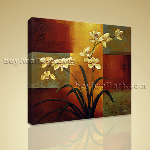 Contemporary Abstract Floral Painting HD Print Canvas Wall Art Orchid Flower