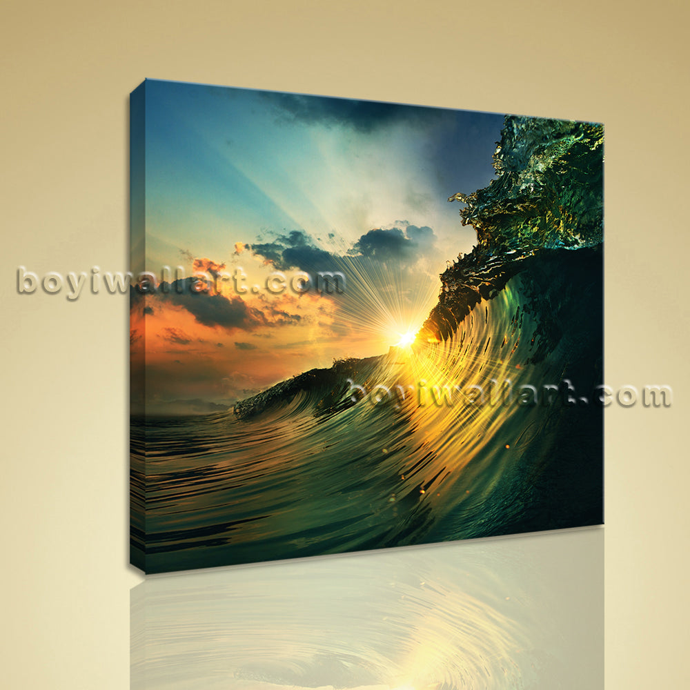 HD Picture Print On Canvas Seascape Surf Sunset Sea Wave Surfing Wall Art