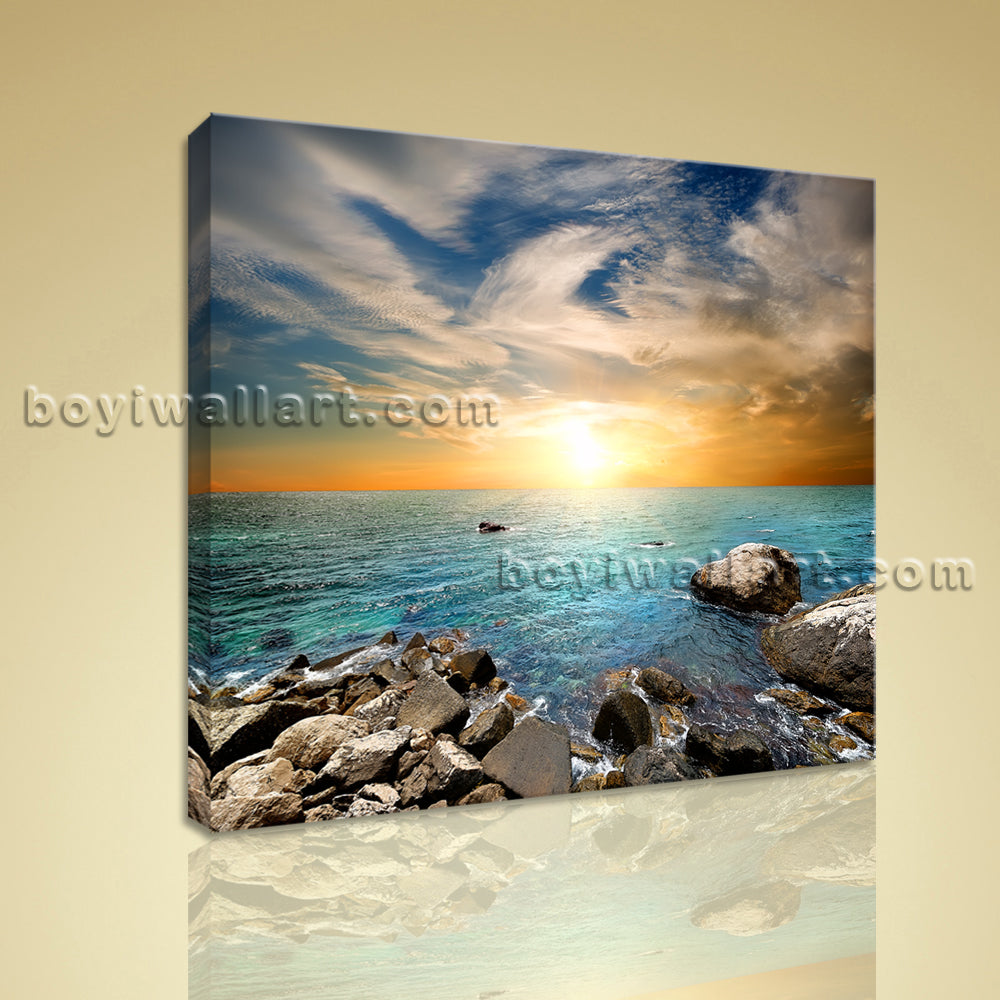 Contemporary Seascape Painting HD Print Canvas Wall Art Beach Sky Home Decor